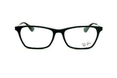 2b089fee0bb67 ... Óculos Ray-Ban RB7053 acetato estilo gatinho preto fosco com haste de metal  preta ...