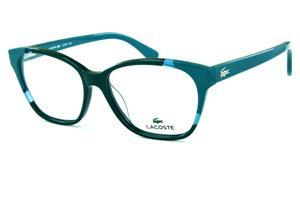 Óculos Lacoste L2737 acetato verde com verde água estilo gatinho e logo de  metal na haste 563a6b48a6