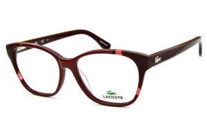 Óculos Lacoste L2737 acetato vermelho com bordô estilo gatinho e logo de  metal na haste 5f744539bb