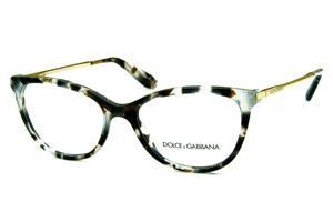 e11f570827566 Óculos Dolce   Gabbana DG3258 Cinza Claro e Marrom efeito onça com hastes  de metal