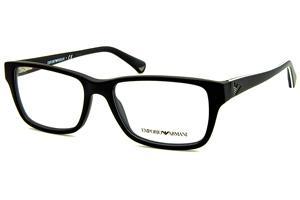 Óculos Emporio Armani EA3057 preto fosco com friso branco nas hastes. e6016ceeba