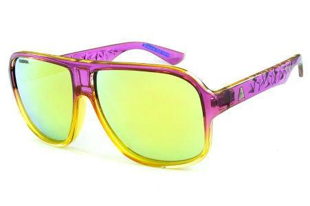 Óculos Absurda Calixtin roxo e amarelo e lente amarela azul espelhado d575bef0be