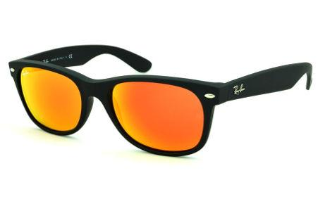 9bb10843f2cfa Óculos Ray-Ban New Wayfarer RB2132 preto fosco com lente espelhada vermelha