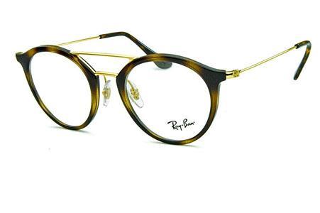 ef6a8ec95ed3b Óculos Ray-Ban RB7097 Acetato Demi tartaruga com ponte e hastes de metal  dourado