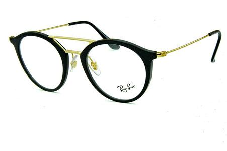 e1c5f223c12d5 Óculos Ray-Ban RB7097 Acetato preto com ponte e hastes em metal dourado