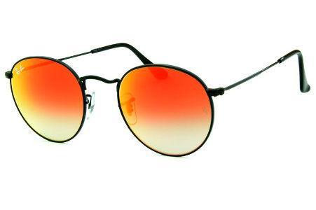 50eb2d63cc659 Óculos Ray-Ban Round RB3447 metal preto redondo com lente cinza degradê e  espelho vermelho