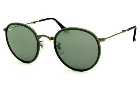 Óculos Ray-Ban Round RB3517 metal chumbo friso cinza escuro e lente  POLARIZADA espelhada degradê ee1d75c588