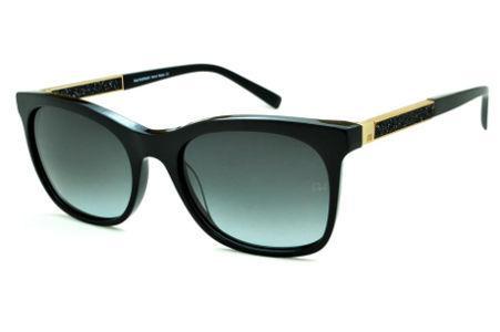 Óculos de Sol Ana Hickmann HI9198 em acetato preto e haste giratória  preta dourada fcf940e416