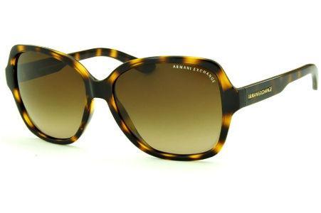 9c6ed8c8c001f Óculos de Sol Armani Exchange AX4029S tartaruga efeito onça com lente marrom  degradê e logo dourado