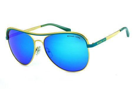 88a9d1646a631 Óculos de Sol Michael Kors MK1012 Vivianna1 Dourado com detalhes verde água  e espelho azul