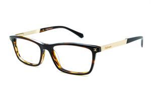 6a7f8053b3792 Óculos Ana Hickmann HI6015 acetato marrom mesclado e bege com haste metal  dourada