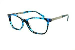 Óculos Ana Hickmann HI6014 azul e preto efeito onça com haste metal prata  flexível de mola 475221fd3f