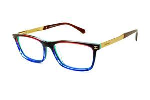 3b9436eee26ec Óculos Ana Hickmann HI6015 azul neon verde vinho com haste dourada flexível  de mola