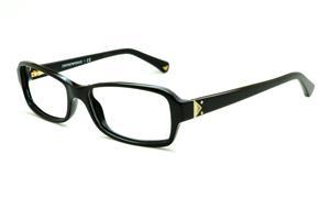 Óculos Emporio Armani EA3016 preto em acetato com haste preta e detalhe  dourado flexível de mola 58a1a37d70