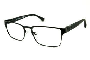 Óculos Emporio Armani EA1027 preto fosco em metal com haste efeito borracha d6fe9cc4cf