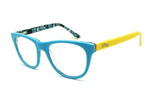 Óculos Disney acetato azul claro e haste com desenhos amarela flexível de  mola 7d461a24f3