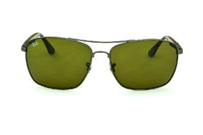 726177e40c27f ... Óculos Ray-Ban RB3531 de sol cinza silver com haste marrom ...