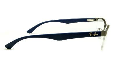 ... Óculos Ray-Ban RB6301 grafite com haste azul de mola flexível e fio de  nylon d86f1a133b
