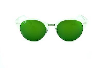 0c90e1a53e8e6 ... Óculos de Sol Ray-Ban RB4246 Clubround branco perolizado com metal  prata e lentes espelhadas ...