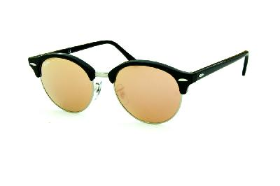 ... Óculos de Sol Ray-Ban RB4246 Clubround preto rajado com metal prata e lentes  espelhadas ... 41951d6220